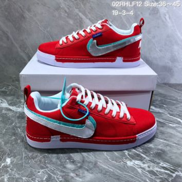 DCCK2 N822 Nike Lunar Force1 Duck Boot Magic Stick Colorful Recreational Double-hooked Canvas Board Shoes Red