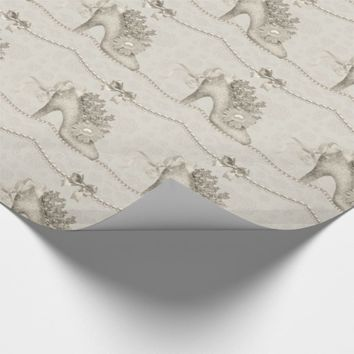 Taupe Wedding Shoe and Illustrated Pearls Wrapping Paper