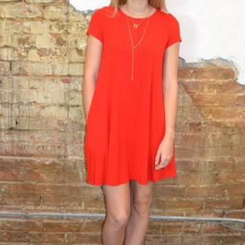 Weekend Fun Swing Dress: Red