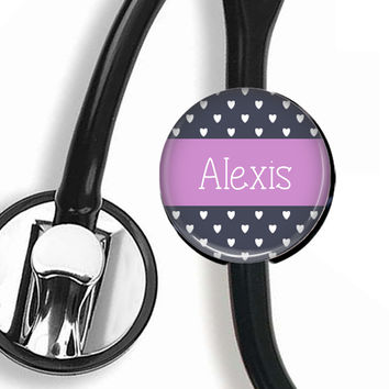 Personalized Stethoscope ID Tag, Hearts