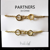 NEW Matte gold matching Handcuffs bracelets for Partners in crime, Best Friends, BFF jewelry Graduation gift ideas, fifty shades of grey