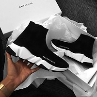 Balenciaga men's and women's socks shoes casual stretch socks boots F-A-HBWJX Black + white soles