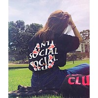Anti Social Social Club Popular Women Men Casual Print T-Shirt Top Black
