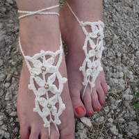 Free Shipping! Handmade Crochet Barefoot Sandals Foot Accessories Foot Jewerly Beach Summer