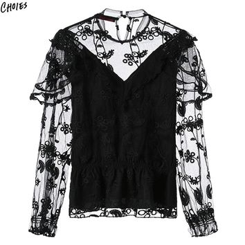 White And Black Floral Embroidered Blouse Women High Neck Semi Sheer Mesh Panel Elastic High Waist Vintage Top