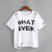 Women t shirt short sleeve Letter Print Holes Casual White T-Shirts Women Tee Tops Female  Style  camisetas mujer #421 SM6
