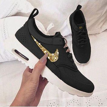 NIKE Air Max Thea Fashionable Women Men Casual Shining Diamond Sequin Sport Shoes Sneakers Black+Gold Hook