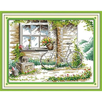 The Quiet Out of Window DMC Cross Stitch DIY Needlework Counted Cross Stitch kits punto de cruz bordado For Embroidery Crafts
