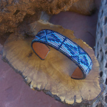 Everlasting Life American Indian beaded bracelet beaded in the colors of crystal, blue  turquoise and chrome back drop by LJ Greywolf