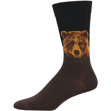 Black Grizzly Bear Novelty Socks - Men's
