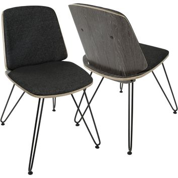 Avery Mid-Century Modern Accent/Dining Chairs, Dark Grey & Black (Set of 2)