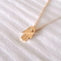 Hamsa hand necklace - gold - Adjustable length, dainty, cute and lovely pendant jewelry; protection necklace, hamsa