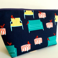 Extra Large Cosmetic Case Toiletry Bag Travel Bag Makeup Bag in Tweets and Sweets