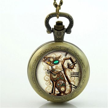 Steampunk Cat Pocket Watch Necklace Jewelry Cat Pocket Watch  FREE SHIPPING