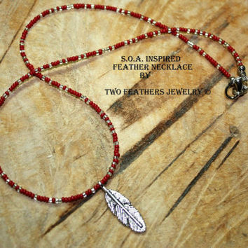 SOA Inspired Feather Necklace - Red And Silver - Sons Of Anarchy Inspired Tara Necklace - Gift For Her - Biker Jewelry - Made In USA