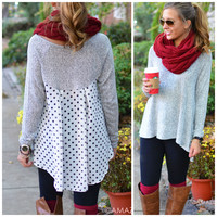 Connect The Dots Grey Polka Dot Back Sweater