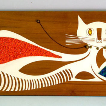 Vintage 1960s Kitty Cat Wooden Wall Hanging with Rhinestone Eyes - Mid Century Kitsch Wall Art, Wall Hanging