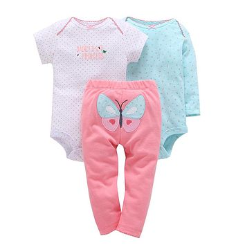 Baby girl dot print romper pants butterfly pattern 3piece clothing set cotton spring clothes for newborn baby
