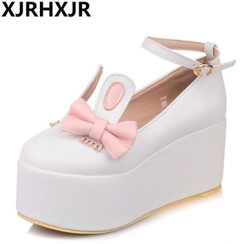 Ladies Cute Lolita Shoes Wedge Heel Heart Shaped Embellished Ankle Buckles 2017 New Ro