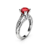 Art Deco Ruby Engagement Ring Unique 14K White Gold Ring Filigree Design Engagement Ring