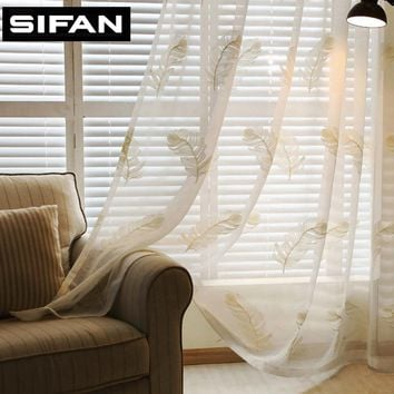 White/Blue Feather Embroidered Voile Curtains