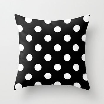 Velveteen Black and White Polka Dot Pillow - Black and White Pillow - Housewares - Housewarming Gift - Home Decor