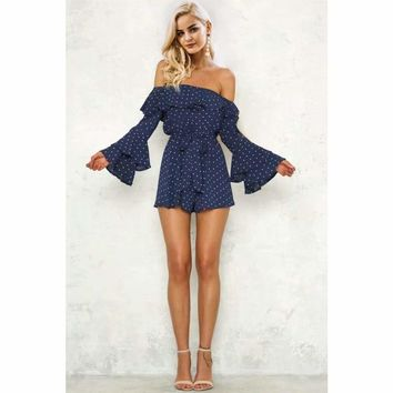 ceecb34fafcb Off The Shoulder Bell Sleeve Romper