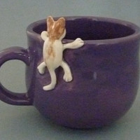 Purple mug with cat