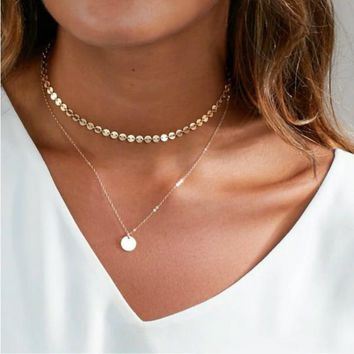 Kylie Layered Disc Choker + Necklace