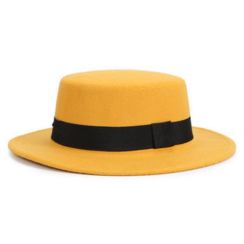 Yellow with Black Bow Tie Woolen Fedora Hat