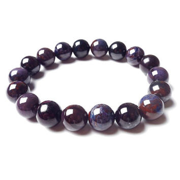 10mm Purple Brown Sugilite Bracelet, Sugilite Stone Bracelet, Sugilite Jewelry, Sugilite Beads, Stretch Bracelet Womens, Beaded Bracelet