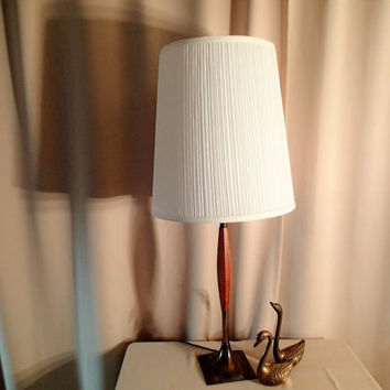 Table Lamp Danish Modern Mid Century. Modern long tall wood column, Square brass base and neck