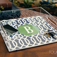 Lucite Tray  14x14 with changeable monogrammed by rougeandco