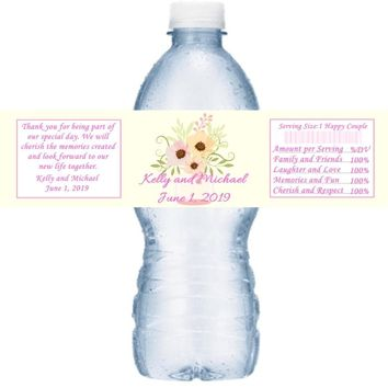 21 Pink and Green Mason Jar Wedding Water Bottle Labels