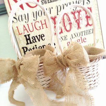 White Wicker Flower Girl Basket, Wedding, Burlap Bow, Shower, Baby, Celebration, Decoration, Country, Rustic ( set of 2 )