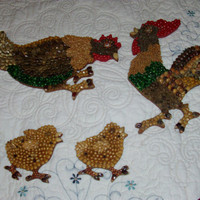Vintage Wall Hangings Rooster Chicken And 2 Chicks Made Of Beans And Seeds