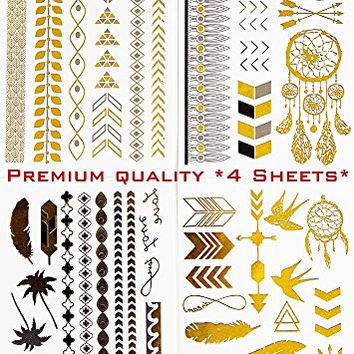 Metallic Temporary Tattoo * Jewelry Gold Silver and Black * 4 Sheets Feather-anchor-dreamcatcher-bird