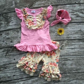 2016 Summer girls outfit pink foral hot sell baby kids boutique  girls clothing top and ruffles shorts matching headband set
