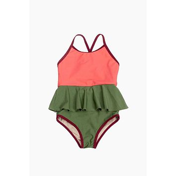 Mini Federica Ruffle Skirt One Piece Swimsuit (Kids) - Sugar Coral Pink Color Block