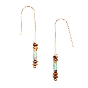 Long Boho Chic Drop Earrings With Natural Stone Beads