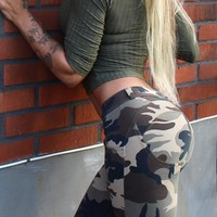 Army Green Camouflage Buttons Elastic Waist Casual Long Leggings