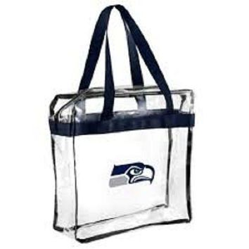 Seattle Seahawks  Clear Plastic Zipper Tote Bag NFL 2017 Stadium Approved