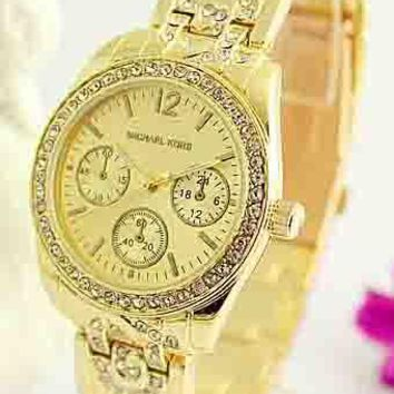 MK Fashion Trendy Elegant Quartz Watch for Men and Women F-Fushida-8899 Gold