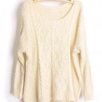 Round Neck Bat Sleeve Beige Sweater - Designer Shoes|Bqueenshoes.com