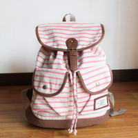 Pink and White Striped Backpack