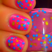 Glow-in-the-Dark Neon Glitter Nail Polish - SUPER BALLS - Custom Blended Nail Polish/Lacquer - Full Sized Bottle (15 ml size)
