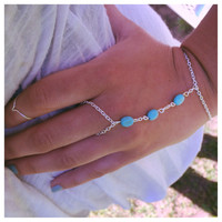 Beaded Turquoise Silver Hand Chain, Bohemian Slave Bracelet