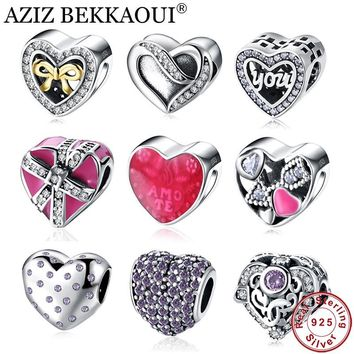 AZIZ BEKKAOUI 925 Sterling Silver Love Heart Beads Fit Pandora Bracelet Necklace Crystal Unique Diy Heart Charm Best Gift