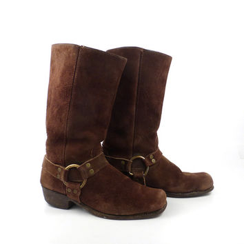 Suede Harness Boots Vintage 1980s Brown Leather men's size 10