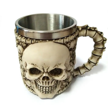 Coffee Cute Hot Deal Hot Sale On Sale Drinks 3D Skull Mug Creative Resin Stainless Steel Strong Character Cup [6283348678]